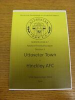17/09/2016 Uttoxeter Town v Hinckley AFC  . Footy Progs (aka bobfrankandelvis) a