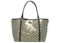 Auth GUCCI Crystal GG 197953 GoldGray Black Coated Canvas &  Leather Tote Bag