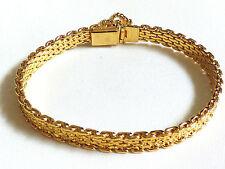 "Nugget style Bracelet 7.5"" long Monet Gold Tone Metal Textured"