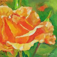 Original Painting Oil on Gessobord Orange Rose
