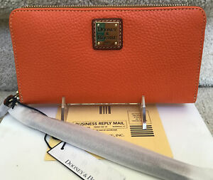 Dooney & Bourke Pebble Grain Large Zip Around Wristlet Wallet in CLEMENTINE