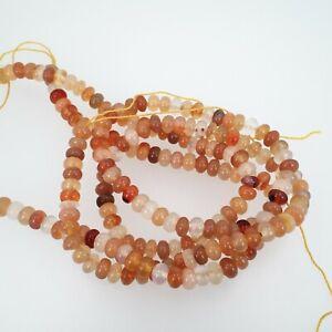 Carnelian rondelle beads 4x6mm. Natural gemstone beads. Full strand