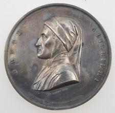 "Medaglia 1865 Dante ""Al divino poeta"" Firenze by Pazzi & Sernesi bronzo"