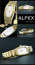 Oval Alfex Ladies Designer Watch Swiss Made Complete Stainless Steel Hard Gilded
