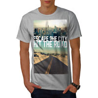 Wellcoda Escape The City Mens T-shirt, Lifestyle Graphic Design Printed Tee