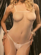 White Seamless Fishnet Crotchless Suspender Bodystocking One Size see through