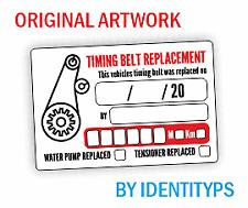 10 x Timing Belt Replacement Stickers - 76mm x 51mm - Cam Belt - Service - MOT