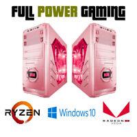 Custom Built Gaming Pink Computer Case With Ryzen 3 12 Core PC Vega 8 Graphics