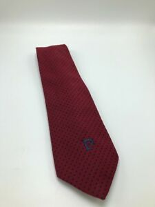 Pierre Cardin Paris-New York 100% Imported Polyester Red Blue Polka Dot Mens Tie