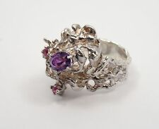 AMAZING 50's BRUTALIST AMETHYST & RUBY JEWELED STERLING RING * sz 7.5