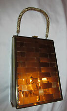 vintage 50's gold tone woven metal / clear lucite with gold flake box style bag