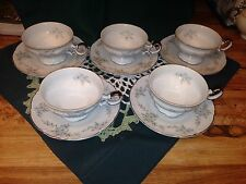 Five Mikasa White Pattern #H9089 Barbizon Cups and Saucers