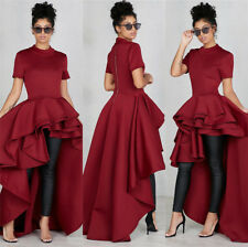 Fashion Women Short Sleeve High and low Peplum Bodycon Casual Party Club Dress