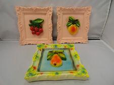 Vintage Kitchenware Chalkware Fruit Art Noveau Hanging Decor Cherry Peach Pear