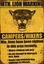 Metal Tin Sign lion warning for campers hikers Pub Home Vintage Retro Poster