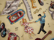 MUSIC MUSICIANS JAZZ INSTRUMENTS JUKEBOX RADIO BY KAUFMAN 100% Cotton Fabric HY