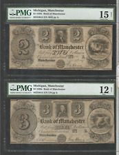 1830s $2 & $3 & $5 Michigan Manchester bank of Manchester