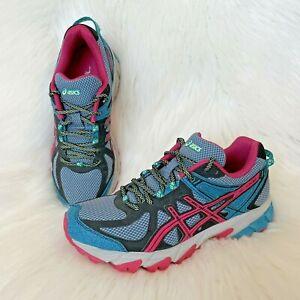 Asics GEL Sonoma Women Size 7 Running Shoes Cushion Pink Blue Black Gray T4F7N
