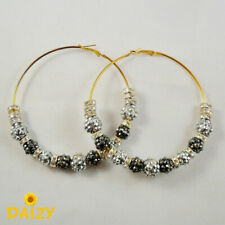 BIG HOOP EARRINGS SILVER BLING HOOP EARRINGS BLING HIP HOP HOOP BASKETBALL WIVES