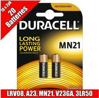 20 Duracell 12V Alkaline Battery MN21 LRV08 A23 car alarm remote