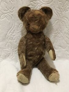 AS-IS DAMAGED Vintage Antique Rare? Jointed Brown Teddy Bear Plush Toy No Brand