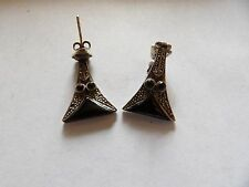 deco articulated drop earrings W80-16 sterling silver onyx & marcasite art