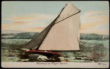 Yachting on Puget Sound, Seattle Area, postmarked 1907, printed postcard