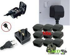 10X EU 2 Pin to UK 3 Pin Main Power Plug Adapter Black  with 5A Fused UK