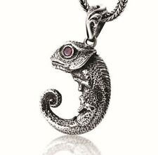 100% Real 925 Silver Charmeleon Lizard Necklace Pendant Retro Boho Animal