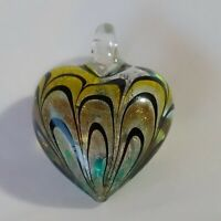 "Art Glass Pendant Clear Glass Heart Yellow Blk Dichroic Stripes 1.5"" Glass Bale"