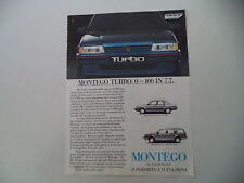 advertising Pubblicità 1985 AUSTIN MONTEGO TURBO