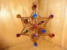 """Vintage 3D Copper Wire Color Faux Jeweled 6"""" Star Christmas Tree Ornament"""