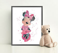 MINNIE MOUSE Disney Print Poster Watercolour Framed Canvas Wall Art Nursery
