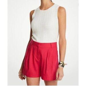 NWT Ann Taylor Loft Ruffled Hot Pink Linen Blend Shorts Size 12 with 4 POCKETS