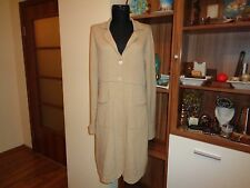 ALLUDE 100% CASHMERE LIGHT BEIGE KNITTED EMPIRE LINE LONG CARDIGAN-M,12-UK