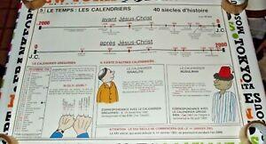 Objet de Métier Carte Scolaire Rossignol N° 5 & 6  calendriers 40 siècles Globes