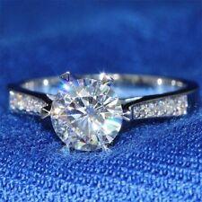 2.05 Ct Near White Round Cut Moissanite Engagement Wedding Ring 9K White Gold