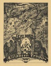 Walter REHN 1884 -1951 Germany 2 Woman's exlibris Elisabeth Tropp 1948