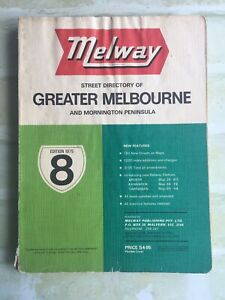 Street Directory Of Greater Melbourne - MELWAY - 1975 - Edition 8 SoftCover