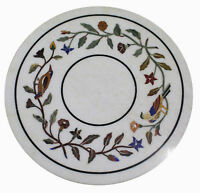 "18"" White Marble Coffee Semi Precious Stones Inlay Floral Art Handmade Table Top"
