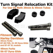 39/49mm Fork Front Turn Signal Relocation Kit For Harley Dyna Glide Sportster XL