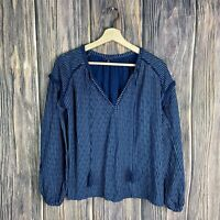 Lucky Brand Small Top Women's Long Sleeve Floral Embroidery Eyelets Blue Boho