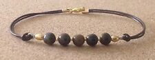Tone Plated, Charm Friendship Bracelet Tiger'S Eye Beads, Leather Cord, Gold
