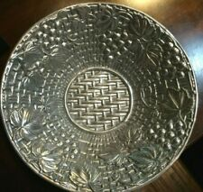 Lenox Hollowware Footed Basket Weave Grapes Round Serving Bowl