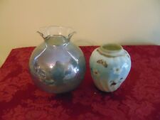 Vase Iridescent Blue Glass Ceramic dogwood Vintage