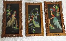 Vintage Set of 3 Feather Bird Folk Art Pictures with Carved Wood Frames