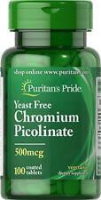Puritan's Chromium Picolinate Yeast Free 500mcg 100 Coated Tablets