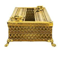 Vintage Gold Gilt Hollywood Tissue Kleenex Holder Cover Rose Ornate Filigree