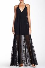 Alice & Olivia Black Murray Halter Lace Panel Maxi Dress $396 NWT 2