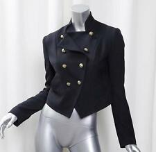 JUICY COUTURE Womens Black Wool Military Cadet Double-Breasted Jacket Coat P/XS